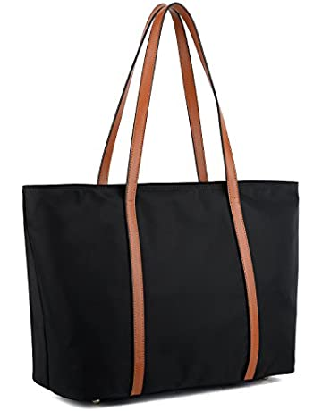 19d0370460d8 YALUXE Tote for Women Leather Nylon Shoulder Bag Women s Oxford Large  Capacity Work fit 15.6 inch