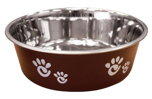 Ethical Pet Barcelona Matte and Stainless Steel Pet Dish, 32-Ounce, Chocolate (32 Dog Steel Stainless Oz)