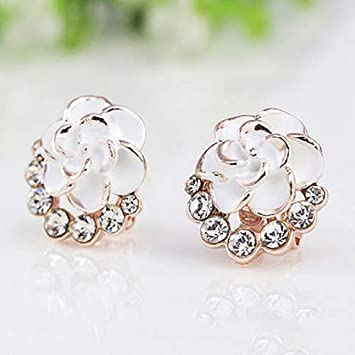 8a34895cb soAR9opeoF Opeof Earrings Women Peony Camellia Flower Rhinestones Alloy Ear  Stud Earrings Party Jewelry White