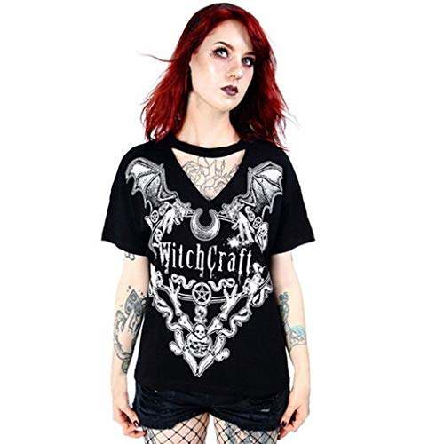 SMALLE_Clothing Graphic Tees for Women,SMALLE◕‿◕ Women's Short Sleeve Punk Print T-Shirt Summer Hollow Gothic T Shirts