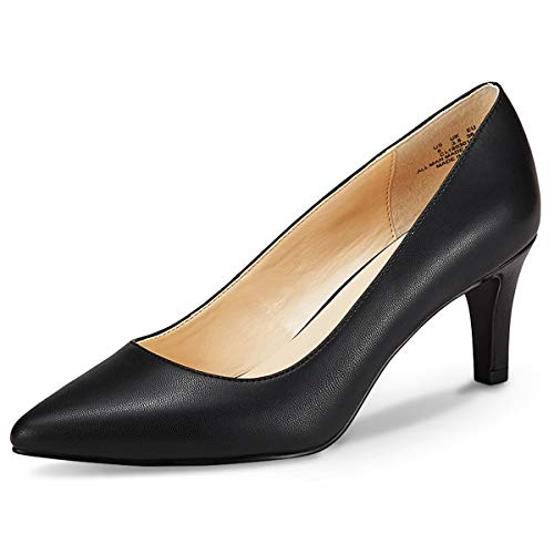 JENN ARDOR Women's High Heels Ladies Pointed Toe Slip On Mid Heel Dress Party Pumps Black 7 - Heeled Mid Black
