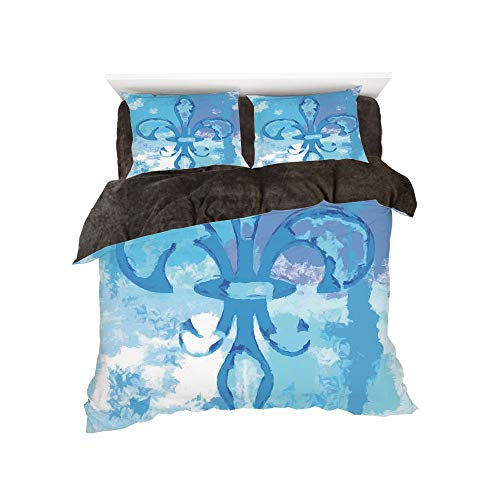 Flannel Duvet Cover Set 4 Pieces Bedlinen Winter Holiday for Bed Width 6ft Pattern by,Fleur De Lis Decor,Illustration of Lily Flower Like Frozen Heredic Nobility Emblem Queenly Style Print,Blue -
