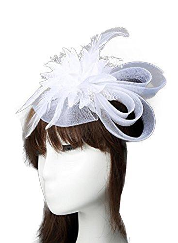 [MerryDay Elegant Women Lady Girls Rhinestone Veil Fascinator Hair Clip (White)] (White Top Hat Fascinator)