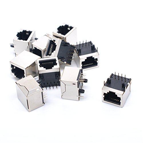 - Willwin 10Pcs Shielded RJ45 8P8C 90 Degree Angle Network Modular PCB Mount Jack Connector