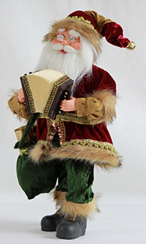 Quot inch standing animated musical dancing accordion santa