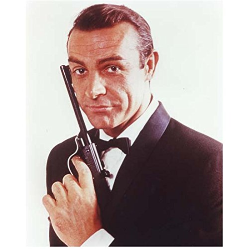 Sean Connery as James Bond Holding Gun to Face Smiling 8 x 10 Inch Photo