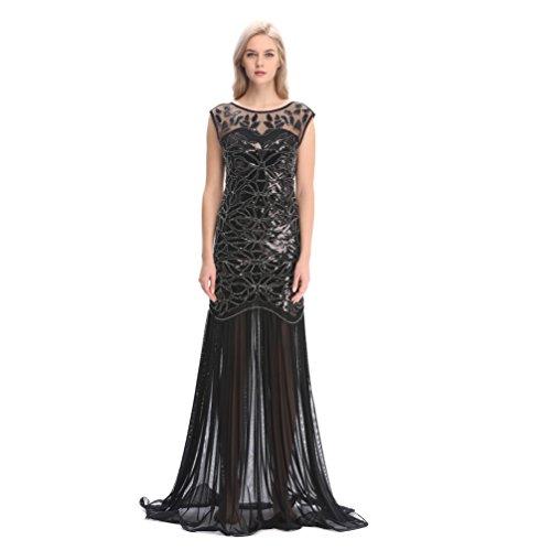 Pilot-trade 1920s Long Prom Dresses Sequins Beaded Art Deco Evening Party Back - Prom Pilot