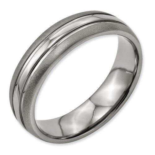 Pure Titanium Rings | Men's Wedding Jewelry | Sand Blasting Edges and Polished Center Middle Rings