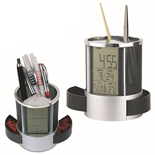 MAZIMARK--Office Digital LCD Desk ALarm Clock Calendar Mesh Pen Pencil Holder Timer Temp by MAZIMARK