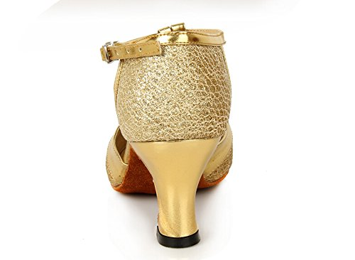 staychicfashion Womens T-strap Fish Scale Latin Ballroom Dance Shoes Closed-toe Heels Gold/Suede 3GcnBQ