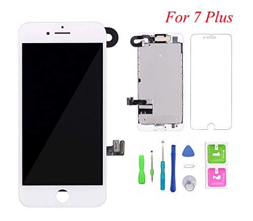Screen Replacement for iPhone 7 Plus, LCD Display and Touch Screen Digitizer Replacement Full Assembly with Proximity Sensor+Ear Speaker+Front Camera+Screen Protector and Repair Tools (White,5.5) (Digitizer Touch Screen Replacement)