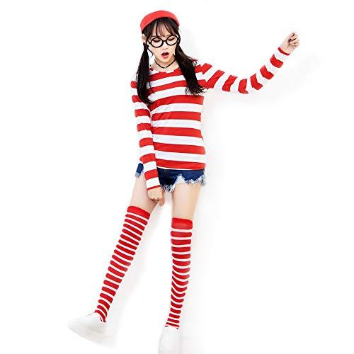 Wenda Costume for Women - striped shirt, hat, round glasses, socks