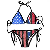 Fashion Sexy Womens American Half British Flag Printing Bikini Set Adjustable Beachwear Swimsuit Black