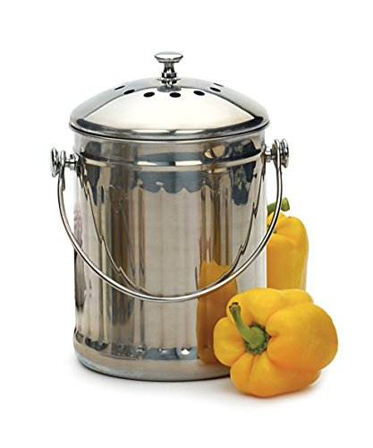 RSVP Stainless Steel Compost Pail, 1-Gallon - Endurance Compost Pail
