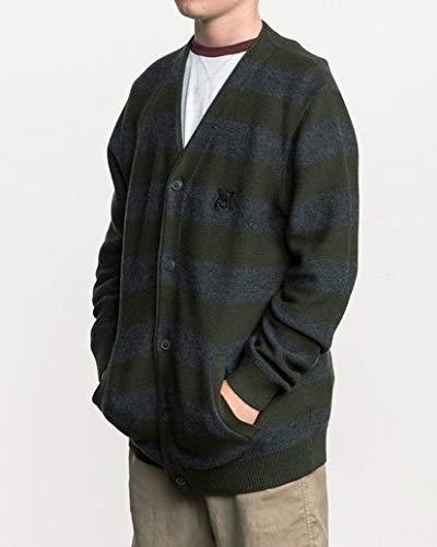 RVCA Boys' Big CALI Cardigan Sweater, Dark Military, L