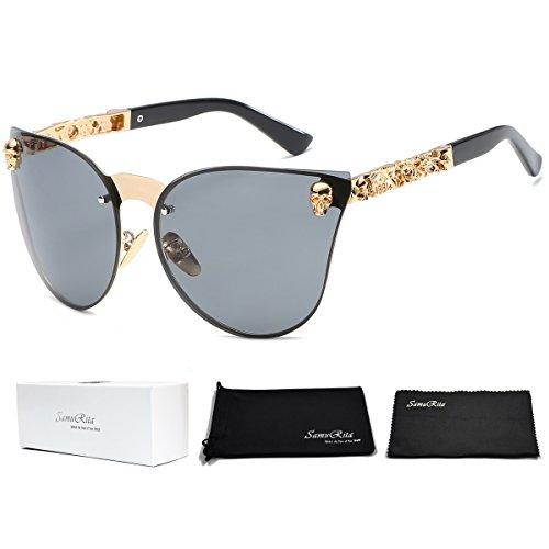 SamuRita Rimless Gothic Skull Cat Eye Sunglasses Punk Oversized Eyewear(Gold Frame) -