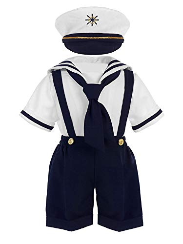 iGirldress Baby Toddler Boys Nautical Sailor Outfit Short Suit 4 Piece Set 2T Navy]()