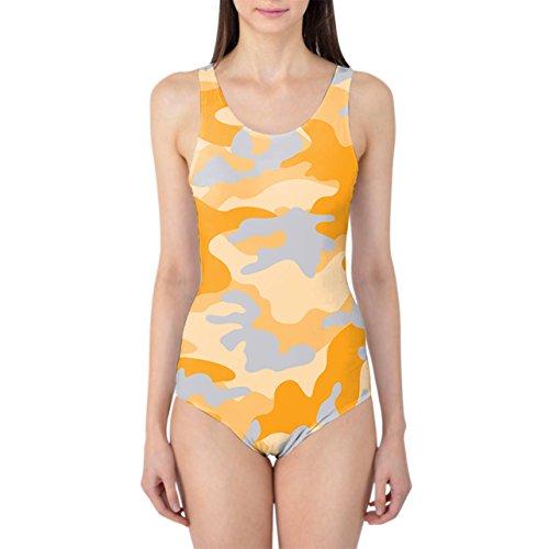Camuflaje Brillante Naranja Bañador de mujer XS-3X L una pieza