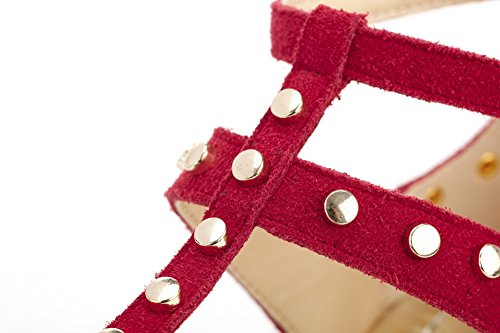 VogueZone009 Women's Split Toe Buckle Blend Materials Studded No Heel Sandals Red Z67pYckKrg