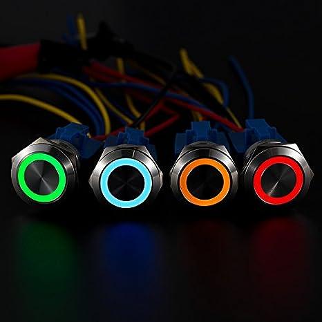 API-ELE 10 Amp//Blue Led All New Design 10 Amp 22mm Latching Push Button Switch 12V Angel Eye LED Waterproof Stainless Steel Round Self-locking 7//8 1NO 1NC 3 year warranty