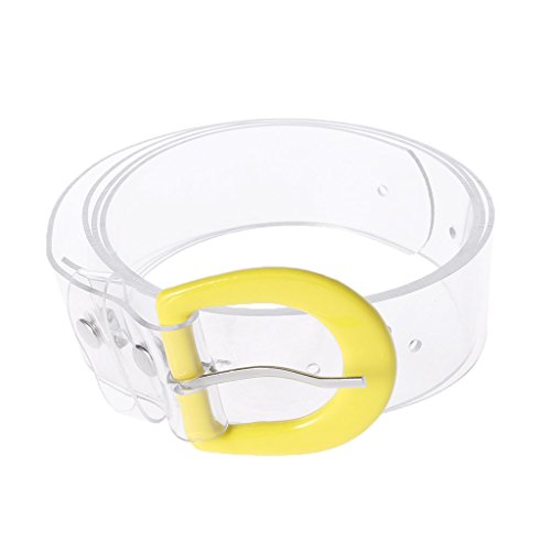 Lamdoo Womens Plastic Waist Belt Transparent Wide Waistband Colored Buckle Fashion Cool Yellow