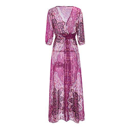 Scollo Donna Abito Split Purple Pavimento 2 Camicia Swing Con Alta Fiori A Lunghezza Manica 1 V Da tx4AZq