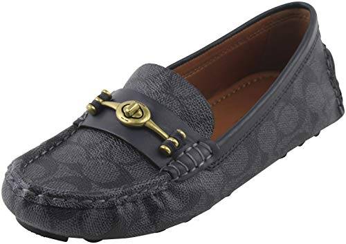 Coach Women's Signature Crosby Driver Turn-Lock Flats Loafers Shoes 7 B US Women in Charcoal/Midnight Navy, Style FG2673