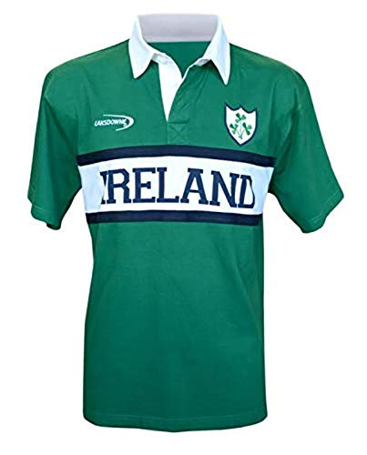 (Lansdowne Short-Sleeved Green Ireland Rugby Shirt With White Ireland Panel (S-XXXL) (Small))