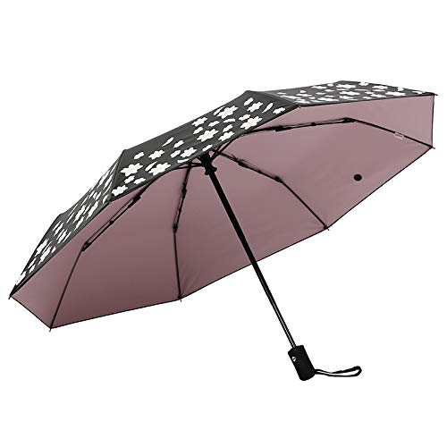 lingchangyoushangmao Automatic Umbrella, rain and rain Umbrella, Folding Umbrella, Anti-UV Umbrella Automatic Water-Changing Plum Powder