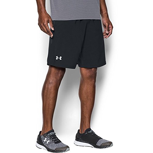 (Under Armour Men's UA Launch Stretch Woven Shorts, Black (001)/Reflective, Medium)