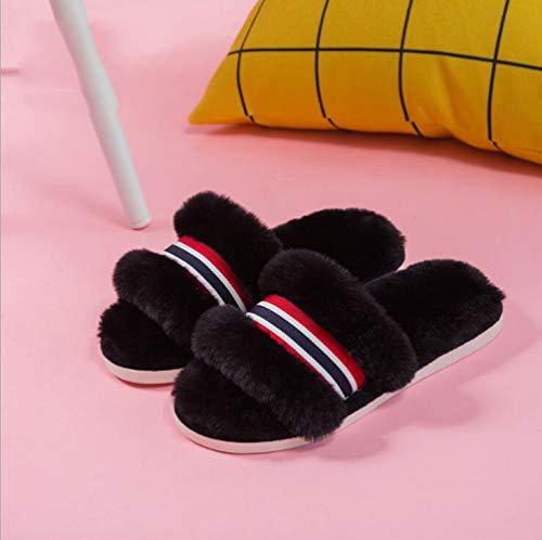 Algodón Rayas De Otoño A De Hogar Cálido Antideslizantes negro De Damas Invierno Zapatillas Zapatillas para E Algodón SBL H7dqxwvH
