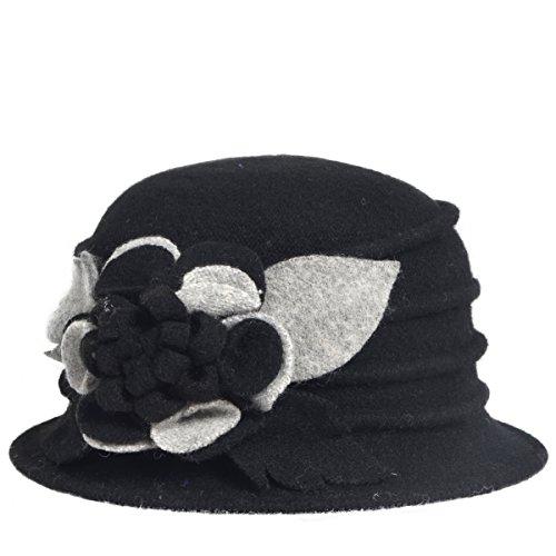 [Women's Wool Dress Church Cloche Hat Bucket Winter Floral Hat (Black)] (New Angora Fedora Hat)