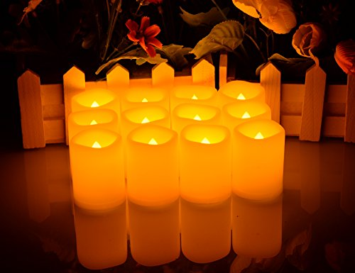 Battery Operated Flickering Flameless Candles – Set of 12 Ivory with Auto – Off Timer Tealight,SWEETIME Votive Led Candles for Weddings and Parties. by Sweetime (Image #4)