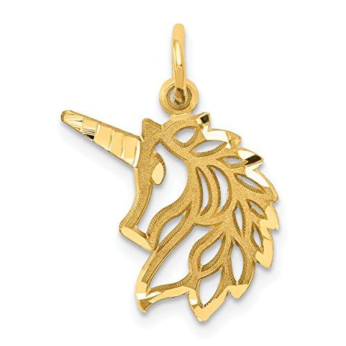 Mireval 14k Yellow Gold Unicorns Head Pendant (15 x 20 mm)