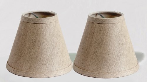 Urbanest Pure Linen Chandelier Lamp Shades, 6-inch, Hardback Clip On, Oatmeal(set of 2)