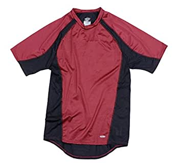 Reebok PlayDry Men's Short Sleeve Athletic Compression Shirt (XX-Large, Maroon/Black)