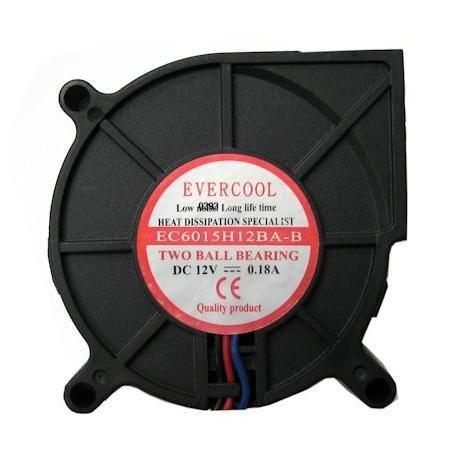 Evercool 60x60x15mm Dual Ball Bearing Blower Fan F-EC6015H12BA-B by Coolerguys