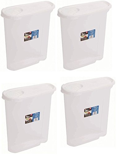 4 x Wham 2.5 Litre Cereal Dispenser Tub - Clear With White Lid, Food storage whatmore