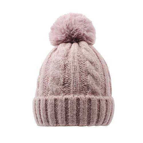 (BAVST Baby Winter Beanies Faux Fur Pom Pom Kids Knit Hat Toddler Boys Girls Warm Infant Lovely Caps Children Christmas (Pink))