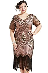 Coral Gold 1920s Sequin Art Plus Size Dress with Sleeve