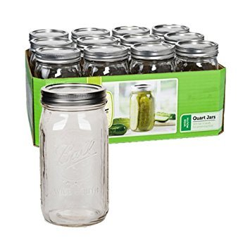 1 Quart Mason Jars - Ball Wide Mouth Quart (32 oz) Jars with Lids and Bands, Set of 12