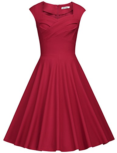 (MUXXN Women's 1950s Vintage Retro Capshoulder Party Swing Dress (S, Burgundy))