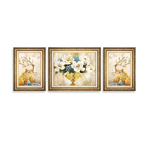 Brown Gold Fw Pearl (F&W WF Mural Set Solid Wood Triptych Living Room Mural Living Room/Picture (Color : Jazz Gold Brown, Size : A))