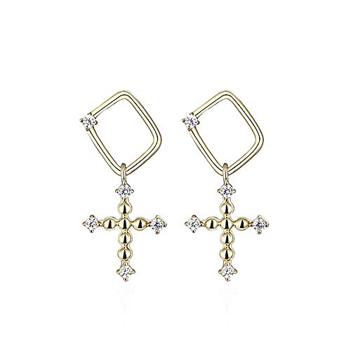 - ZZKJYQR Dangle Cross Earrings Woman Sterling Silver Realigious Drop-Prevent Allergies,Palace Style,Baroque,Personality,Simple Ear Jewelry,Silver