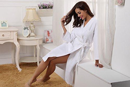 Lunga per Unisex Vestaglia da Bianco da Pigiama Cintura Leggero Sauna Donna Notte in Vestaglia Hotel Accappatoio Aibrou Cialda Cotone con Elegante di 100 Nozze dEHqpHn