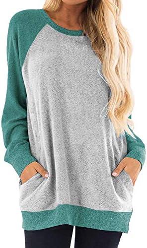 Women's Casual Fall Raglan Long Sleeve Tunic Sweater Tops Shirts with Pockets