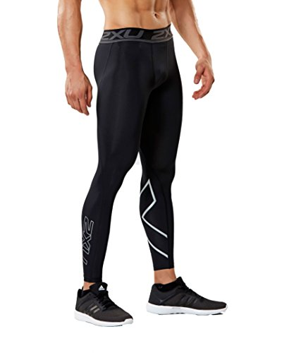 2XU Mens Accelerate Compression Tights (Black/Silver, Large)