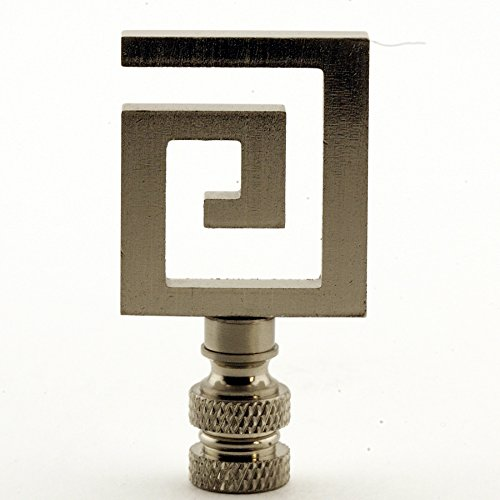 - Greek Key Lamp Finial - Your Choice of Finishes - 2.5 Inches High (Silver)