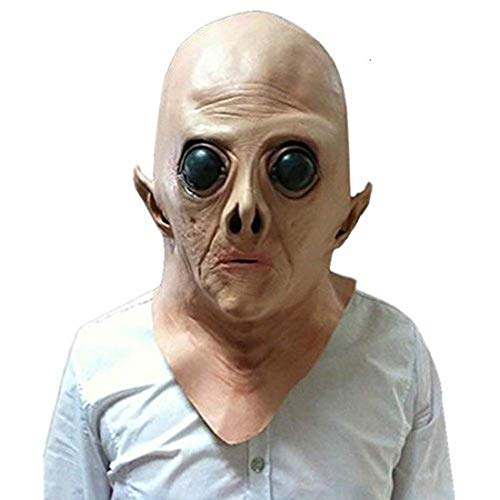 Kuke Halloween Mask Novelty Latex Rubber Alien Mask Halloween Party Scary Costume Decorations Horror Face Mask for -