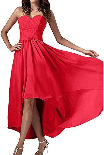 Herzform Chiffon Ballkleid Abendkleider Rot Ivydressing Damen Festkleid Einfach Partykleid qInHffEw